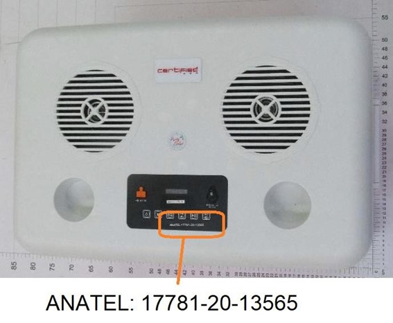 Imagem indica onde ficará o selo da Anatel (Imagem: Reprodução/Anatel)