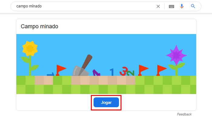 Processo para jogar Campo Minado no Google é bem simples (Imagem: Reprodução/Google)