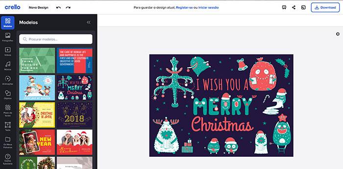 Criando cartão de natal digital no Crello