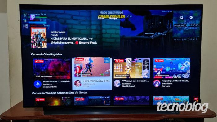 App da Twitch em TV LG com webOS (Imagem: Ronaldo Gogoni/Tecnoblog)