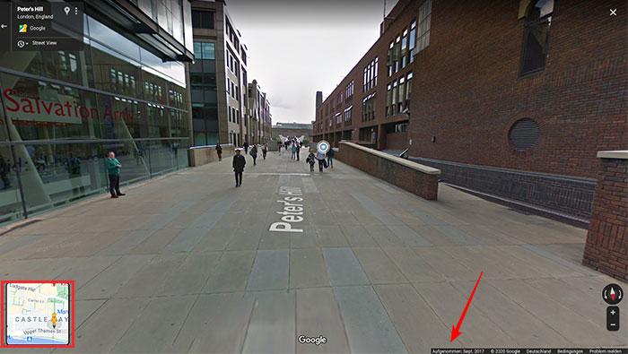 Usando a orientação do mapa de apoio no Google Street View