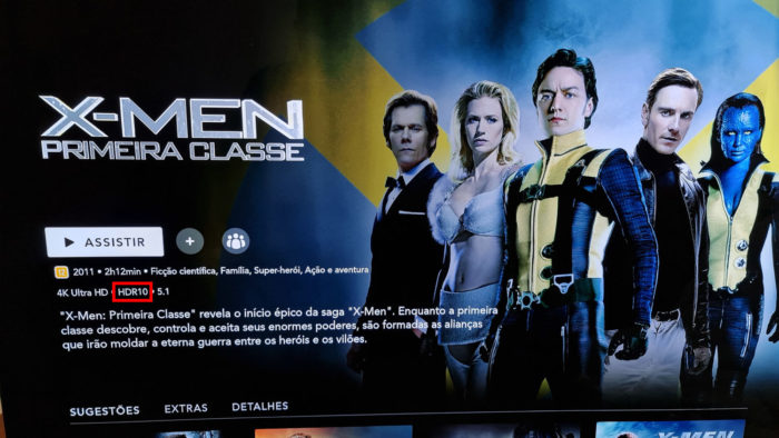 X-Men: Primeira Classe é compatível com HDR10 (Imagem: Ronaldo Gogoni/Tecnoblog)