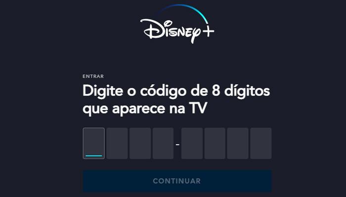 Processo para assistir o Disney+ na TV (Imagem: Reprodução/Disney+)