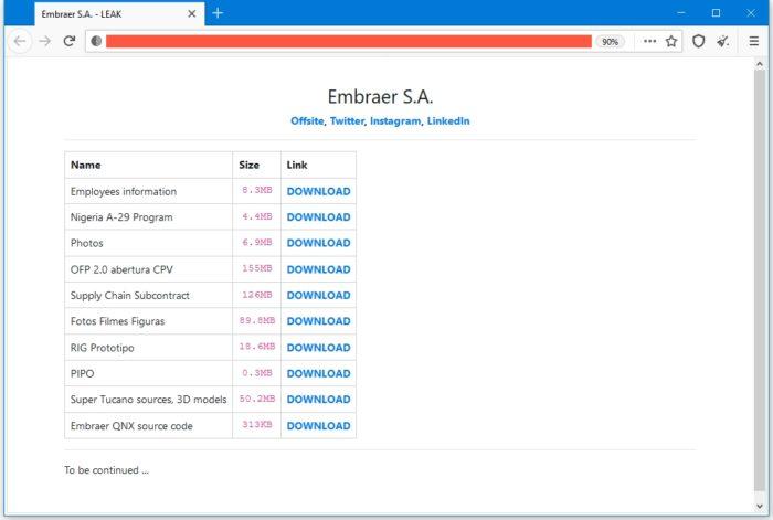 Arquivos vazados da Embraer (imagem: ZDNet)