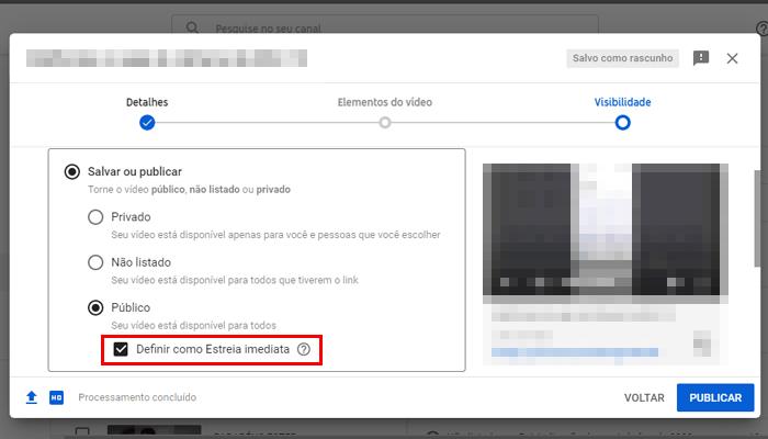 Processo para fazer uma estreia no YouTube (Imagem: Reprodução/YouTube)