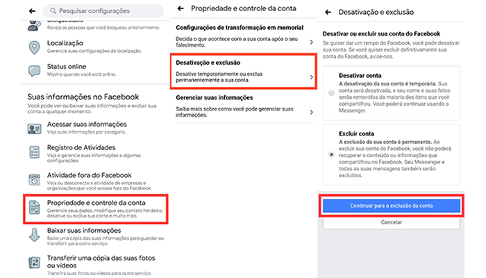 Processo para excluir uma conta do Facebook pelo celular (Imagem: Reprodução/Facebook)