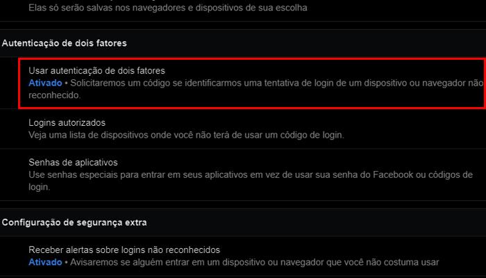 Processo para obter os códigos de segurança do Facebook (Imagem: Reprodução/Facebook)