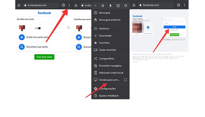 Processo para ativar a versão PC do Facebook no Google Chrome (Imagem: Reprodução/Facebook)