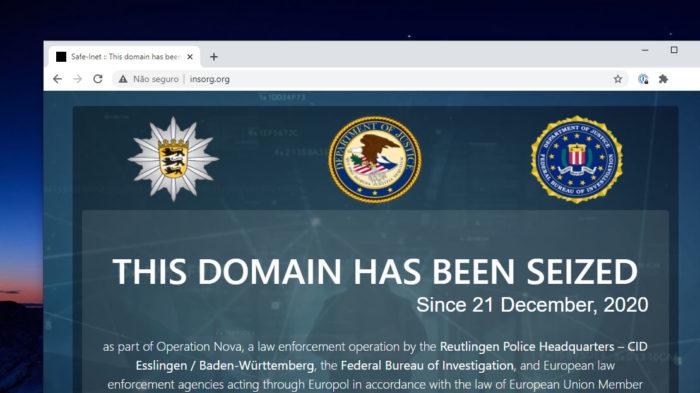 Página da Safe-Inet mostra aviso do FBI (Imagem: Reprodução)