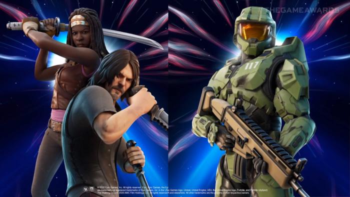The Walking Dead e Halo em Fortnite (Imagem: Epic Games/Divulgação)