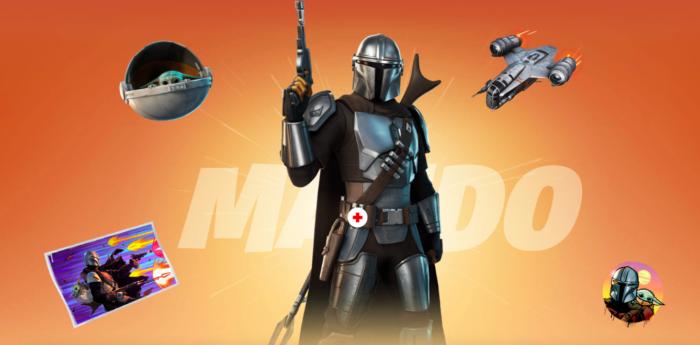 The Mandalorian e Baby Yoda estão em Fortnite (Imagem: Epic Games/Divulgação)