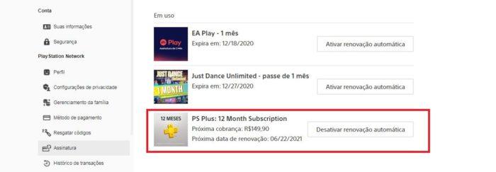 Como cancelar PS Plus (Imagem: Reprodução / PlayStation NetWork)