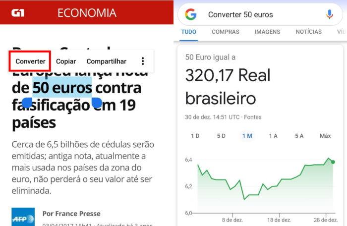 Android tem atalho para converter moeda (Imagem: Reprodução/Alvaro Teixeira)