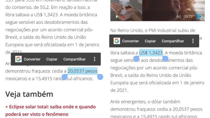 Android consegue converter moedas com Smart Select (Imagem: Reprodução/Wagner Pedro)