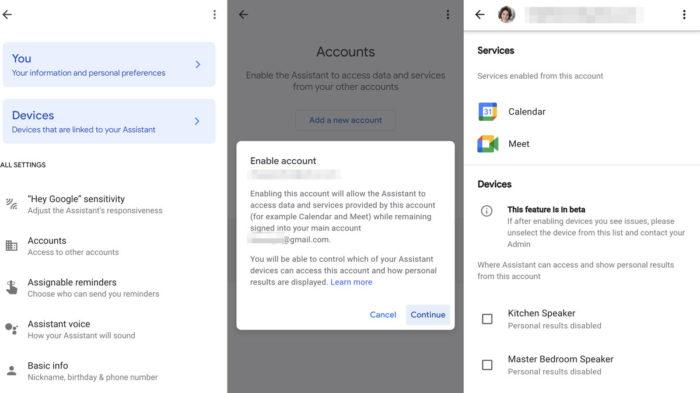 Google Assistente acessa mais de uma conta de Agenda e Meet (Imagem: Reprodução/Android Police)