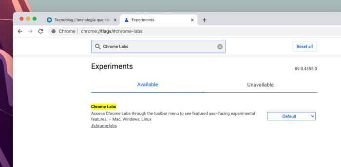 """Ativação do """"Chrome Labs"""" (Imagem: Reprodução/Tecnoblog)"""