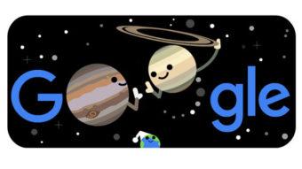 Google Doodle ilustra alinhamento entre Júpiter e Saturno