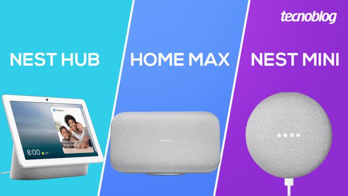 Google Nest Hub, Home Max e Nest Mini (Imagem: Tecnoblog)