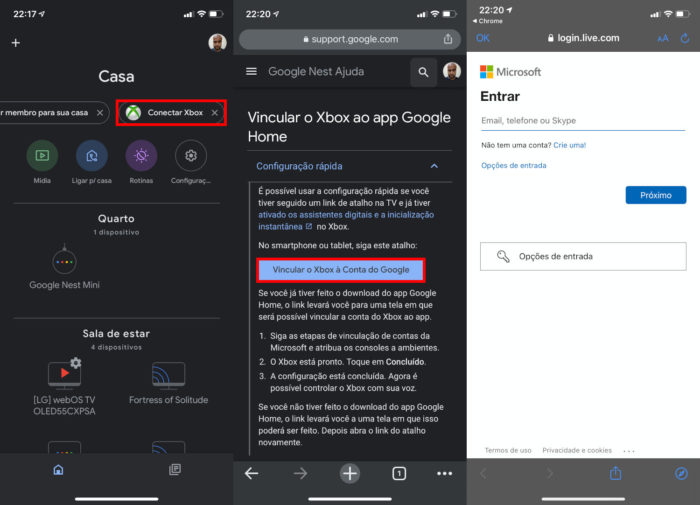 App do Google Home e opções para conectar o Xbox One (Imagem: Reprodução/Google)