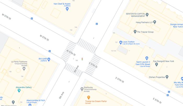 Número dos prédios e faixas de pedestres agora ficam visíveis (Imagem: reprodução/Google Maps)