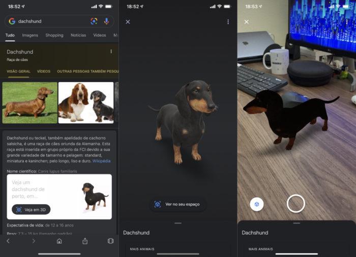 Google exibe mais animais 3D em realidade aumentada (Imagem: reprodução)
