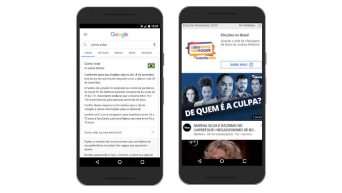 Google destacou seções na busca e campanha do TSE no YouTube (Imagem: Reprodução/Google)