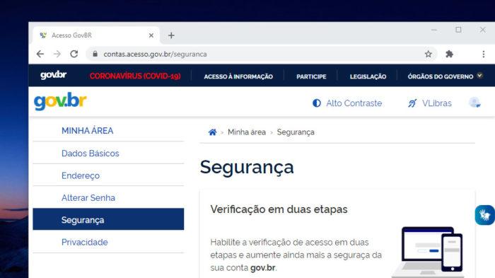 Autenticação de dois fatores no Gov.br (Imagem: Reprodução)