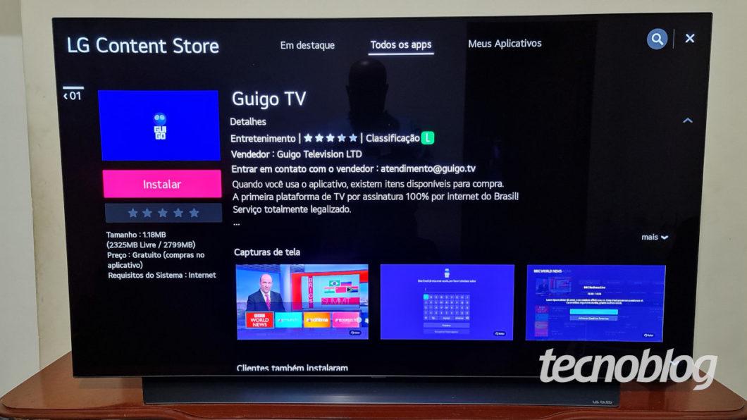 Guigo TV's app in the LG TV app store with webOS (Image: Ronaldo Gogoni/Tecnoblog)