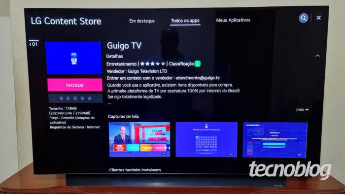 App da Guigo TV na loja de apps de TV LG com webOS (Imagem: Ronaldo Gogoni/Tecnoblog)