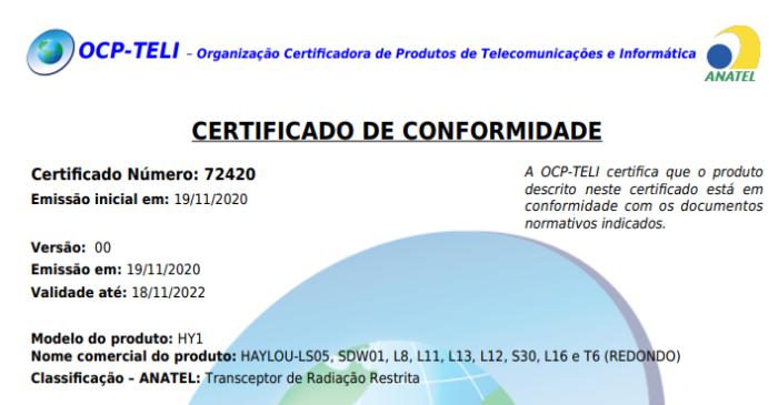 Certificado de homologação do Haylou Solar LS05