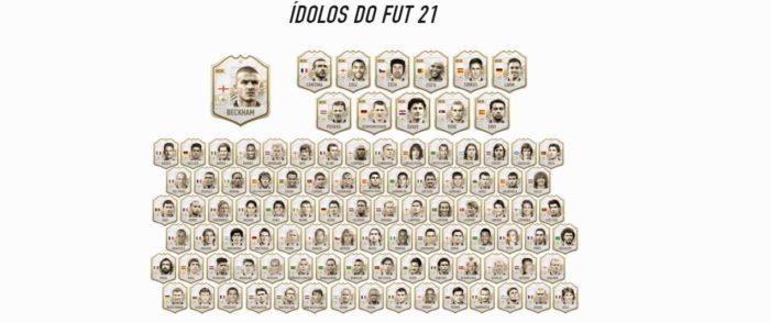 Cartas de ídolos do FIFA 21 (Imagem: Reprodução/ EA Sports)