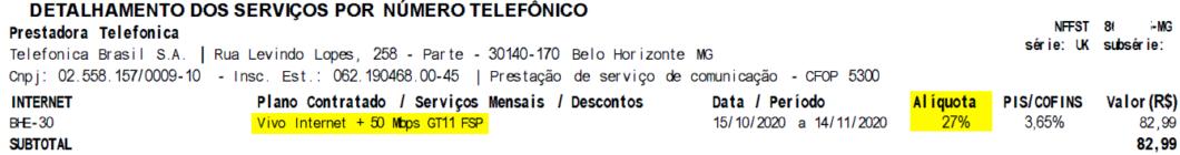 Vivo invoice discriminating 27% ICMS rate on broadband service