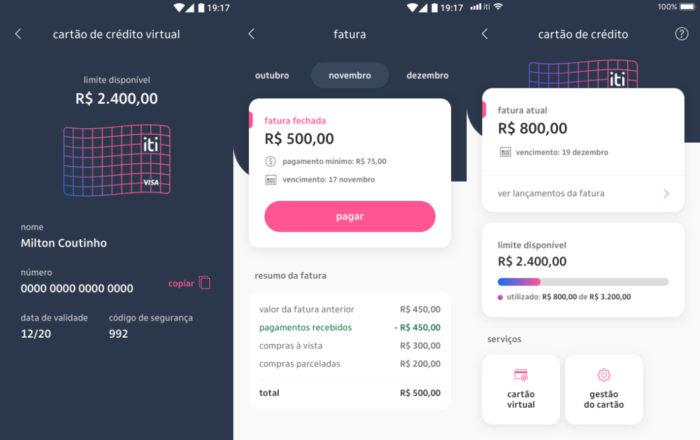 Interface para o cartão de crédito (Imagem: divulgação/Itaú)