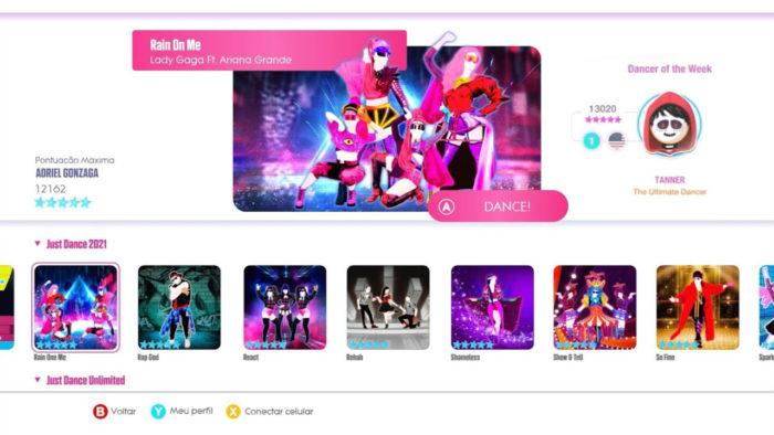 Menu principal de Just Dance 2021 (Imagem: Reprodução/Ubisoft)