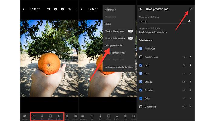 Processo para salvar o preset no aplicativo (Imagem: Reprodução/Lightroom)