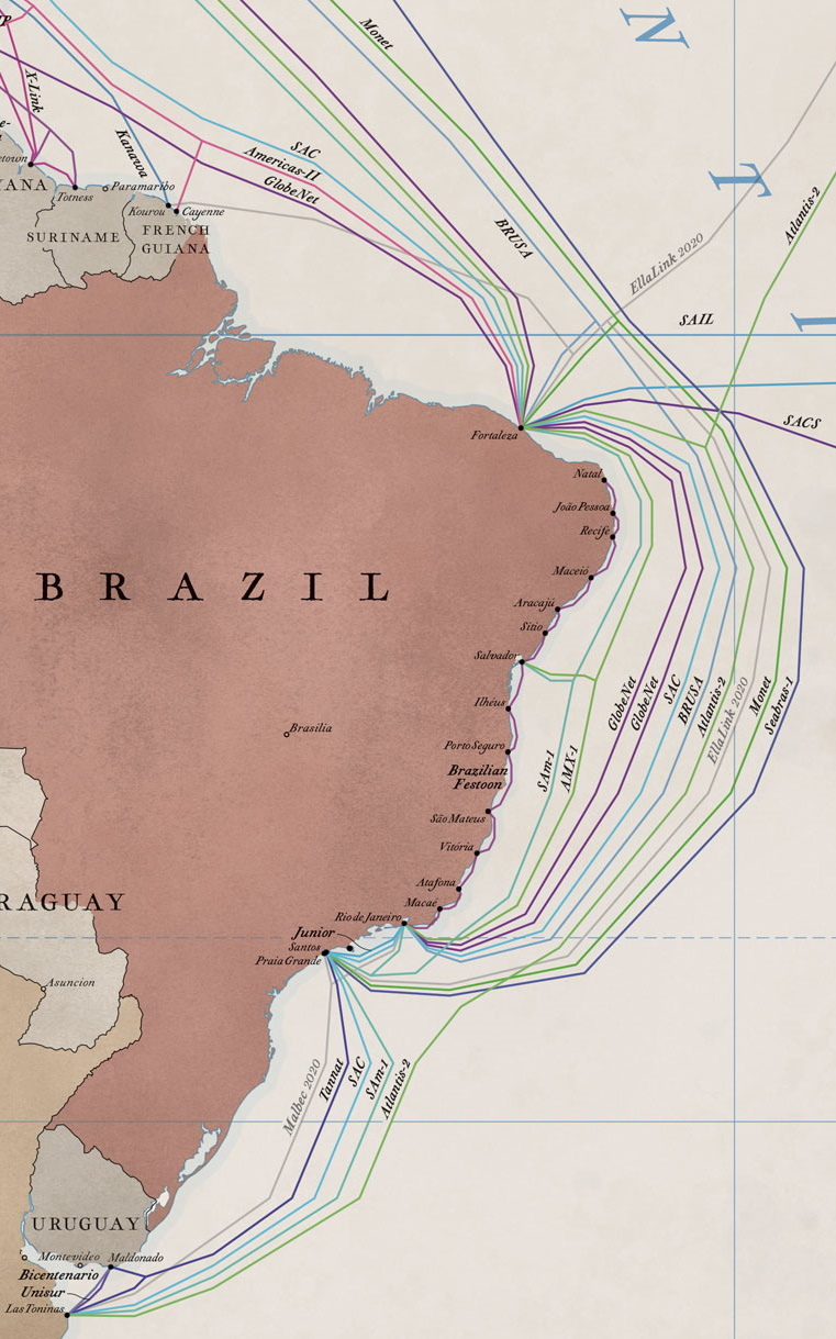 Underground cable map in Brazil (Image: Reproduction / TeleGeography)