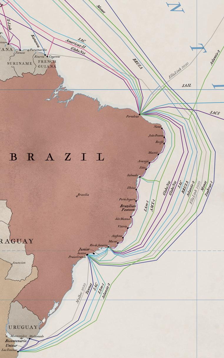 Mapa dos cabos submarinos no Brasil (Imagem: Reprodução / TeleGeography)
