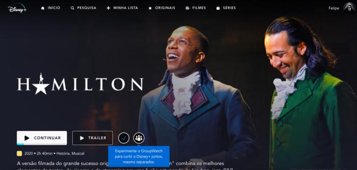Hamilton é um dos musicais no DIsney+ (Imagem: Felipe Vinha/Tecnoblog)