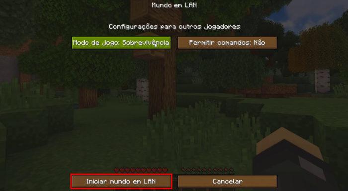 Tela de criação de mundo em LAN de Minecraft (Imagem: Reprodução/Mojang/Xbox Game Studios)