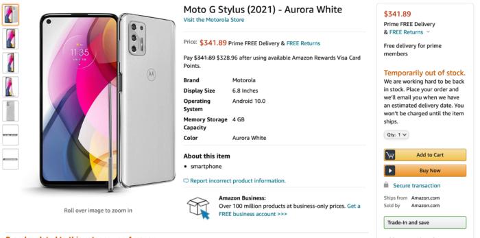 Motorola Moto G Stylus (2021) aparece na Amazon (Imagem: Reprodução/phoneArena)