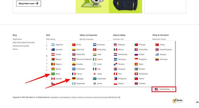 Alterando idioma e moeda no eBay