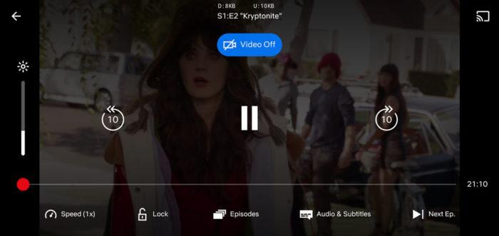 """Botão """"vídeo desligado"""" na Netflix (Imagem: Reprodução/Android Police)"""