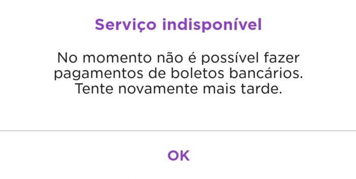 Nubank exibe mensagem de erro sobre pagamento de boleto (Imagem: @australopesteco/Twitter)