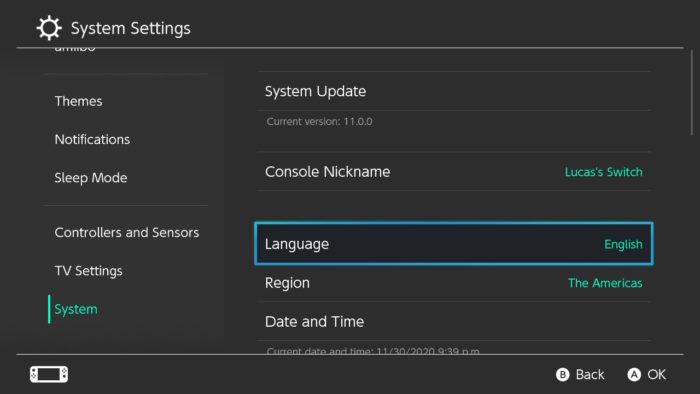 Opção para alterar o idioma do Switch para português (Imagem: Reprodução/Nintendo)