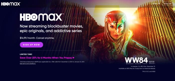 Página inicial do HBO Max (Imagem: Reprodução/HBO)