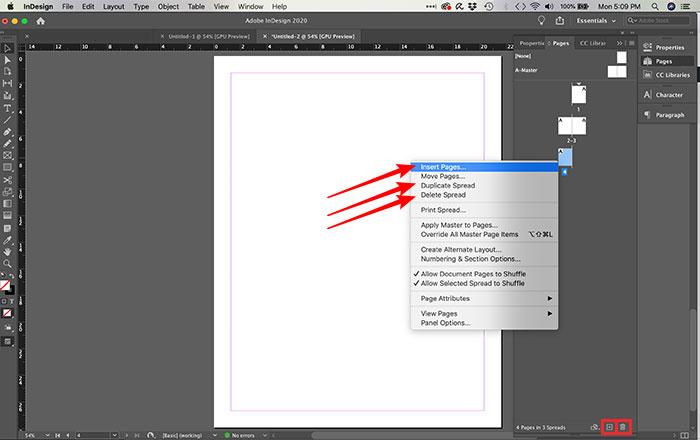 Como inserir, deletar e duplicar páginas no InDesign
