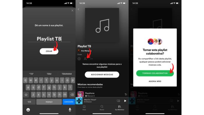Playlist colaborativa no Spotify