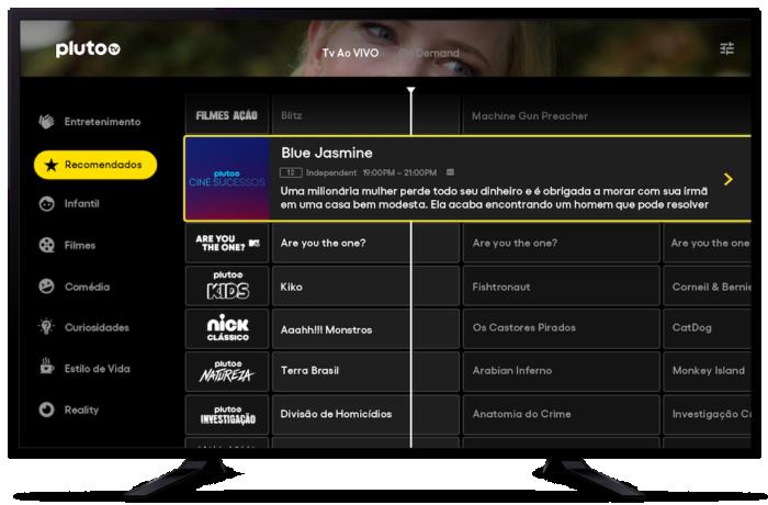 Pluto TV tem IPTV grátis com 27 emissoras (Imagem: Divulgação/Pluto TV)