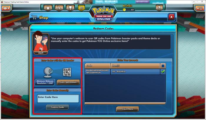 Tela de resgate de boosters físicos em Pokémon TCG Online (Imagem: Divulgação/Dire Wolf Digital/The Pokémon Company)