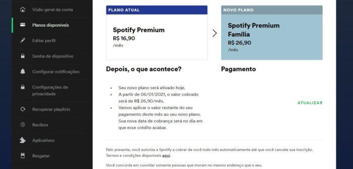 No plano Premium Família, até 6 pessoas compartilham a assinatura (Imagem: Reprodução / Spotify)